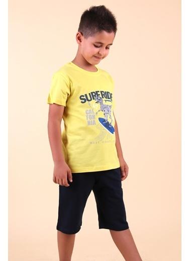 Breeze Erkek Çocuk Kapri Takım Dinozor Baskılı Sarı (2-6 Yaş) Sarı